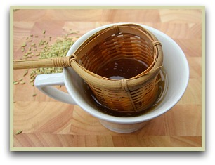 Picture of fennel tea being strained