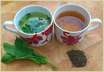 picture of mint teas made with fresh and dried mint leaves