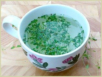 picture of thyme tea made with fresh thyme leaves
